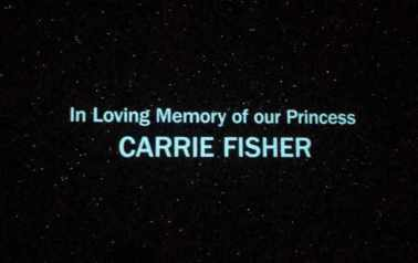 Dedication to Carrie Fisher