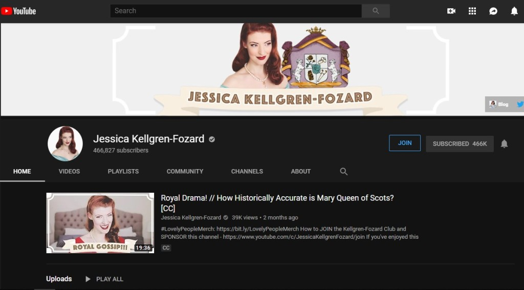 Jessica Kellgren-Fozard's Youtube
